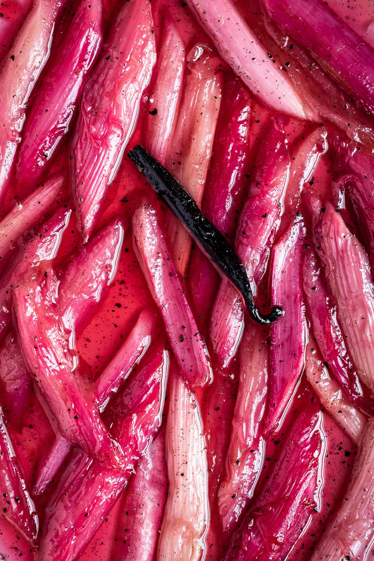 Close up of bright pink poached rhubarb with black pepper, cardamom and vanilla pod
